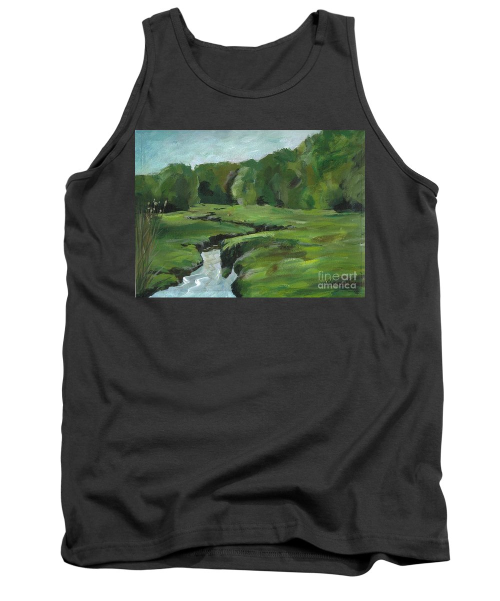 Acrylic Tank Top featuring the painting Snake Like Creek 2 Maine by Claire Gagnon