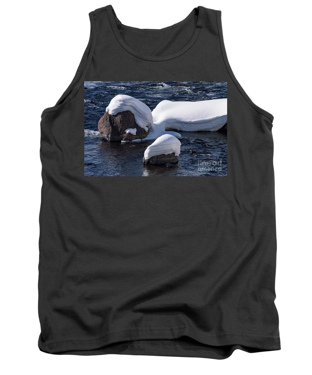Yellowstone National Park Tank Top featuring the photograph Snow Covered River Rocks by Bob Phillips