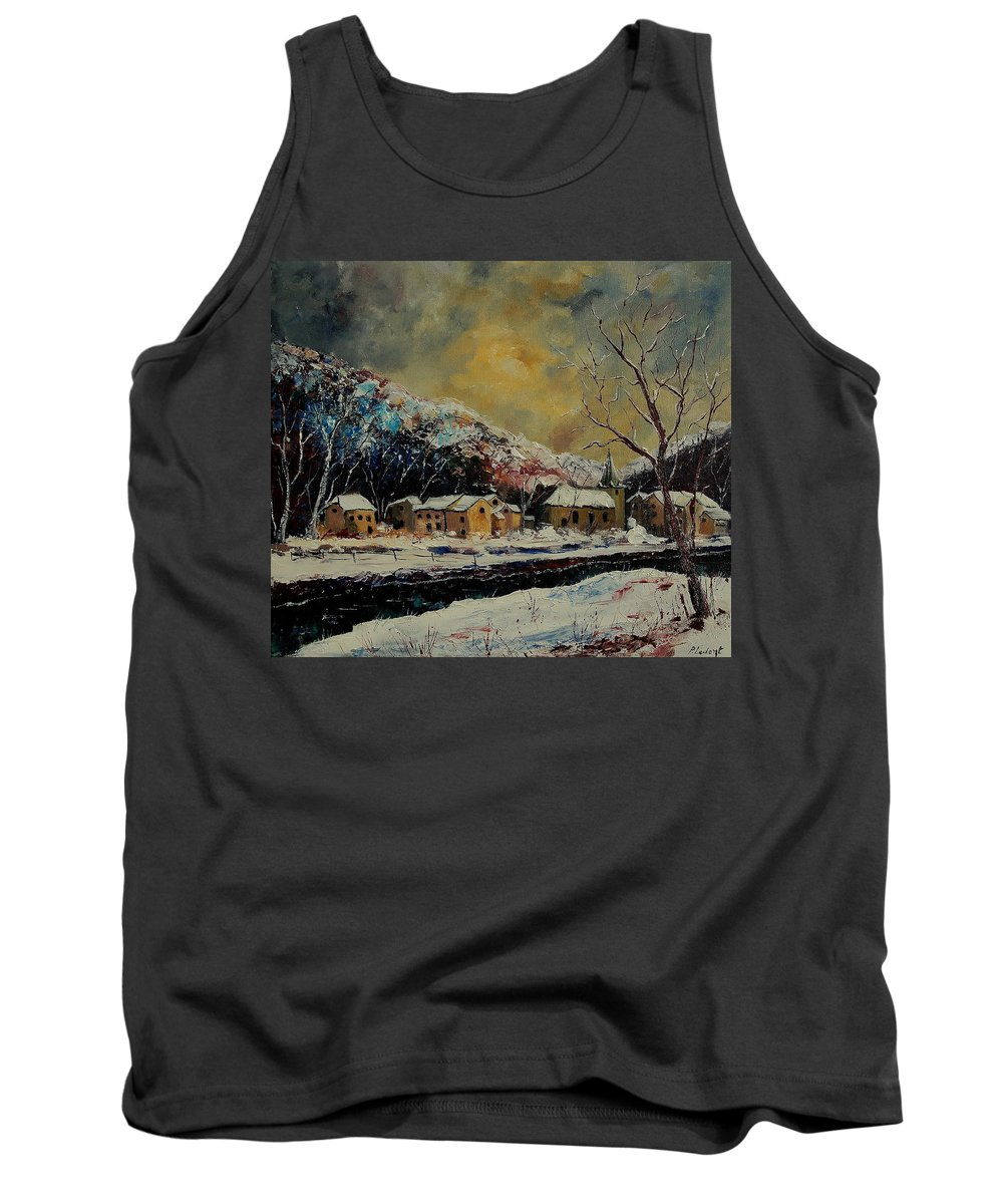 Winter Tank Top featuring the painting Snow In Bohan by Pol Ledent