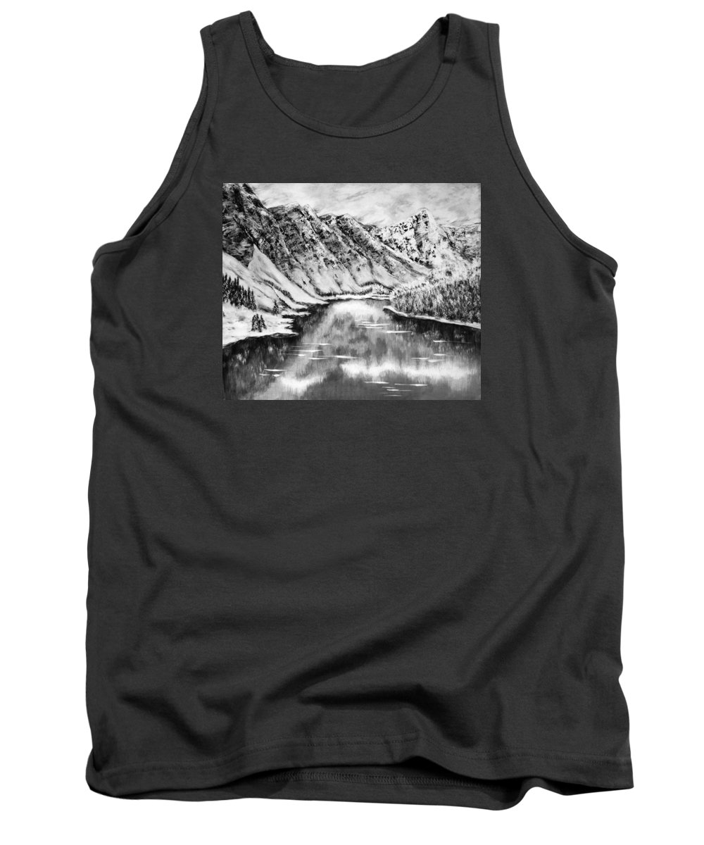 Amazing Image Tank Top featuring the digital art Snow In November Black And White by Katreen Queen