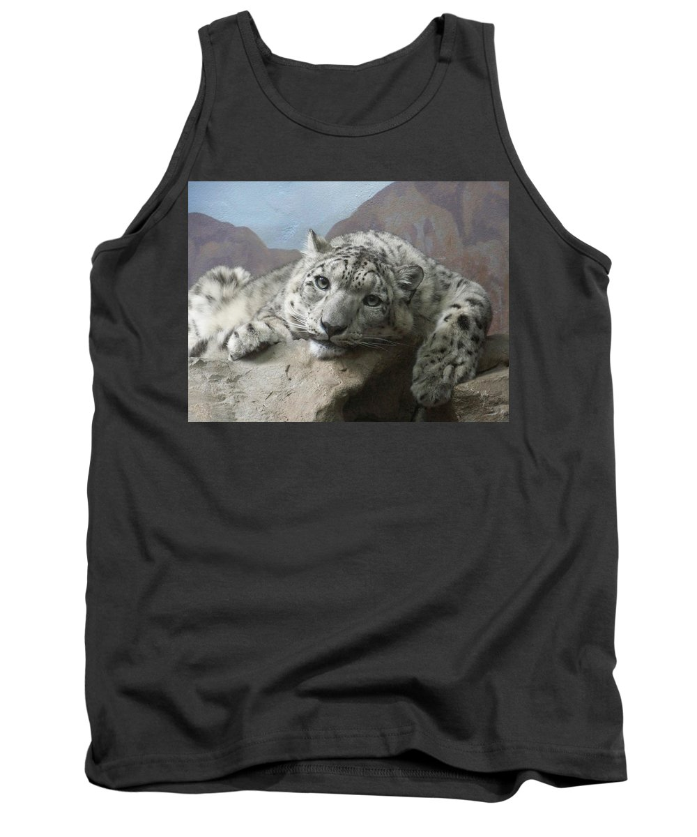 Snow Leopards Tank Top featuring the photograph Snow Leopard Relaxing by Ernie Echols