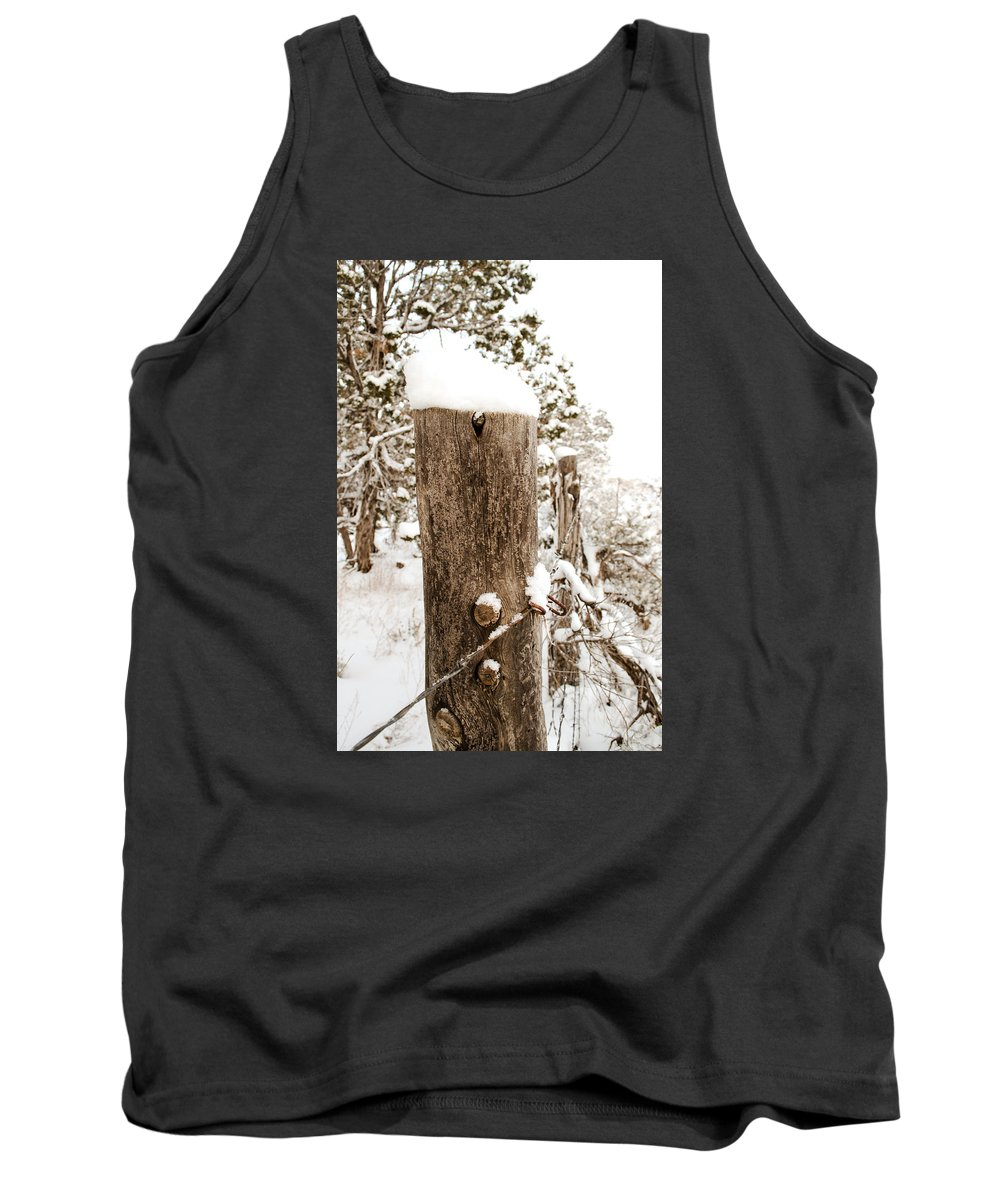 Snow Tank Top featuring the photograph Snowy Fence Post by Julie Gropp