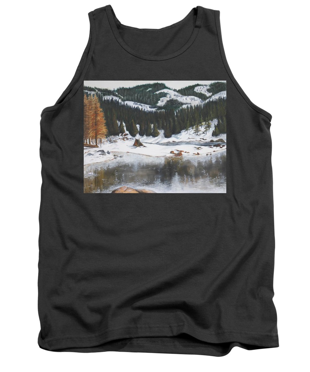Snow Tank Top featuring the painting Snowy Lake by Travis Day