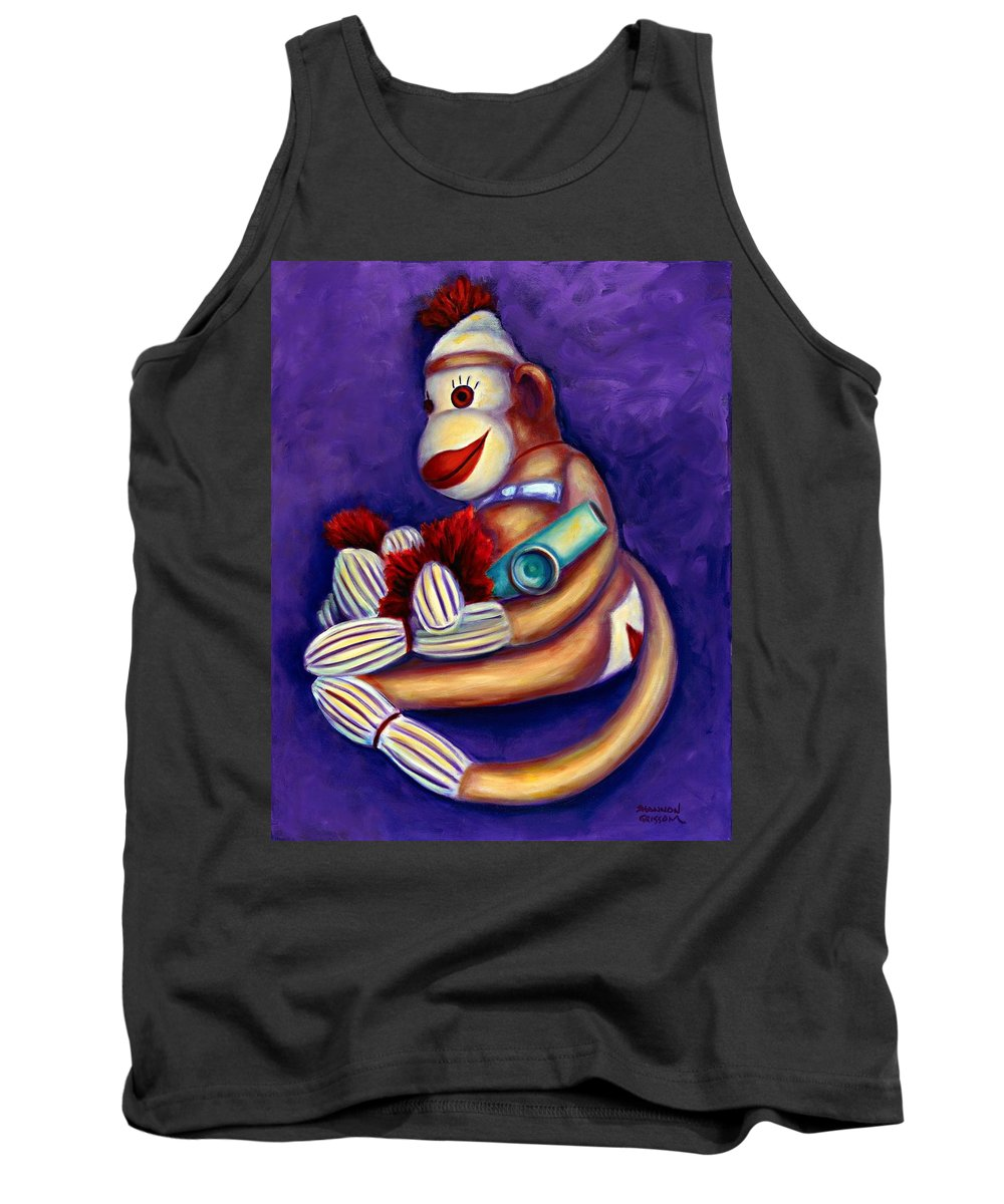 Children Tank Top featuring the painting Sock Monkey With Kazoo by Shannon Grissom