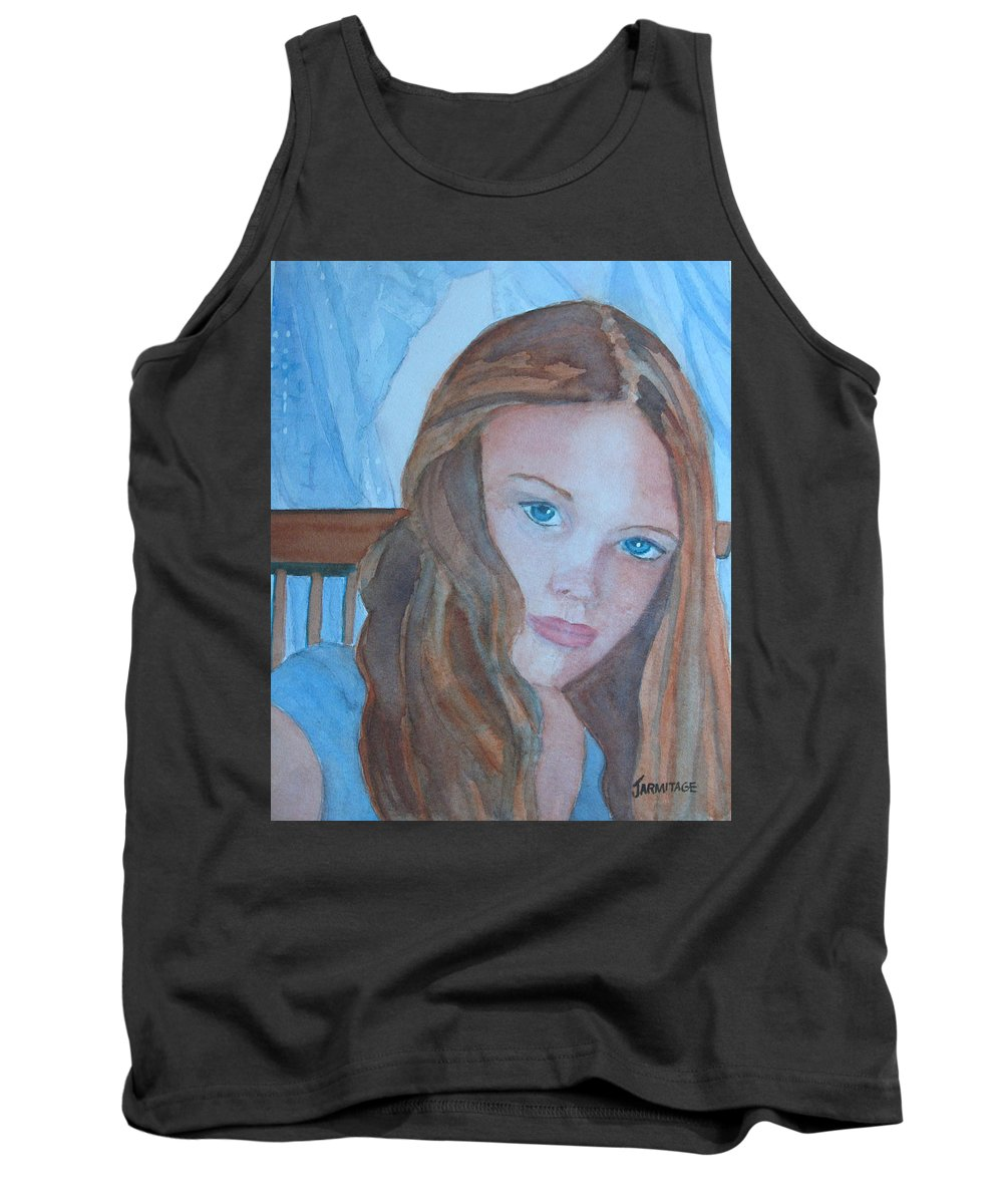 Girls Tank Top featuring the painting Soft Steel by Jenny Armitage