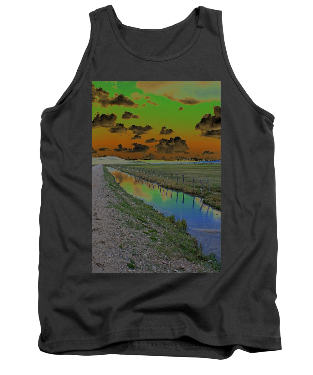 Mountains. Solarized Tank Top featuring the photograph Solarized Sky by Heather Coen