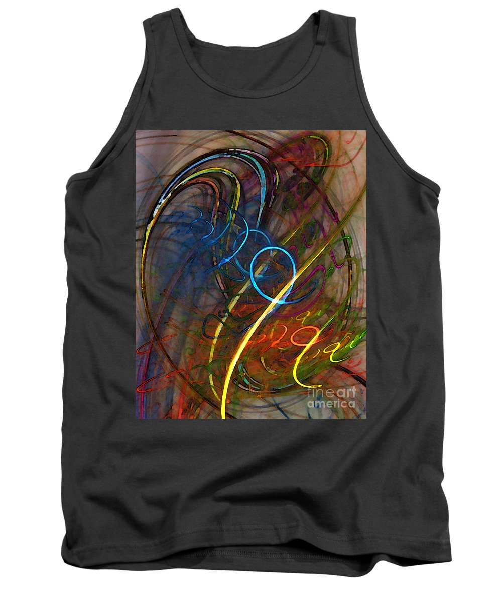 Abstract Tank Top featuring the digital art Some Critical Remarks Abstract Art by Karin Kuhlmann