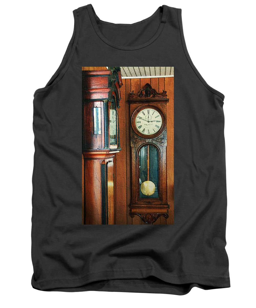 Antiques Tank Top featuring the digital art Somebodys Grandfathers Clocks by RC DeWinter