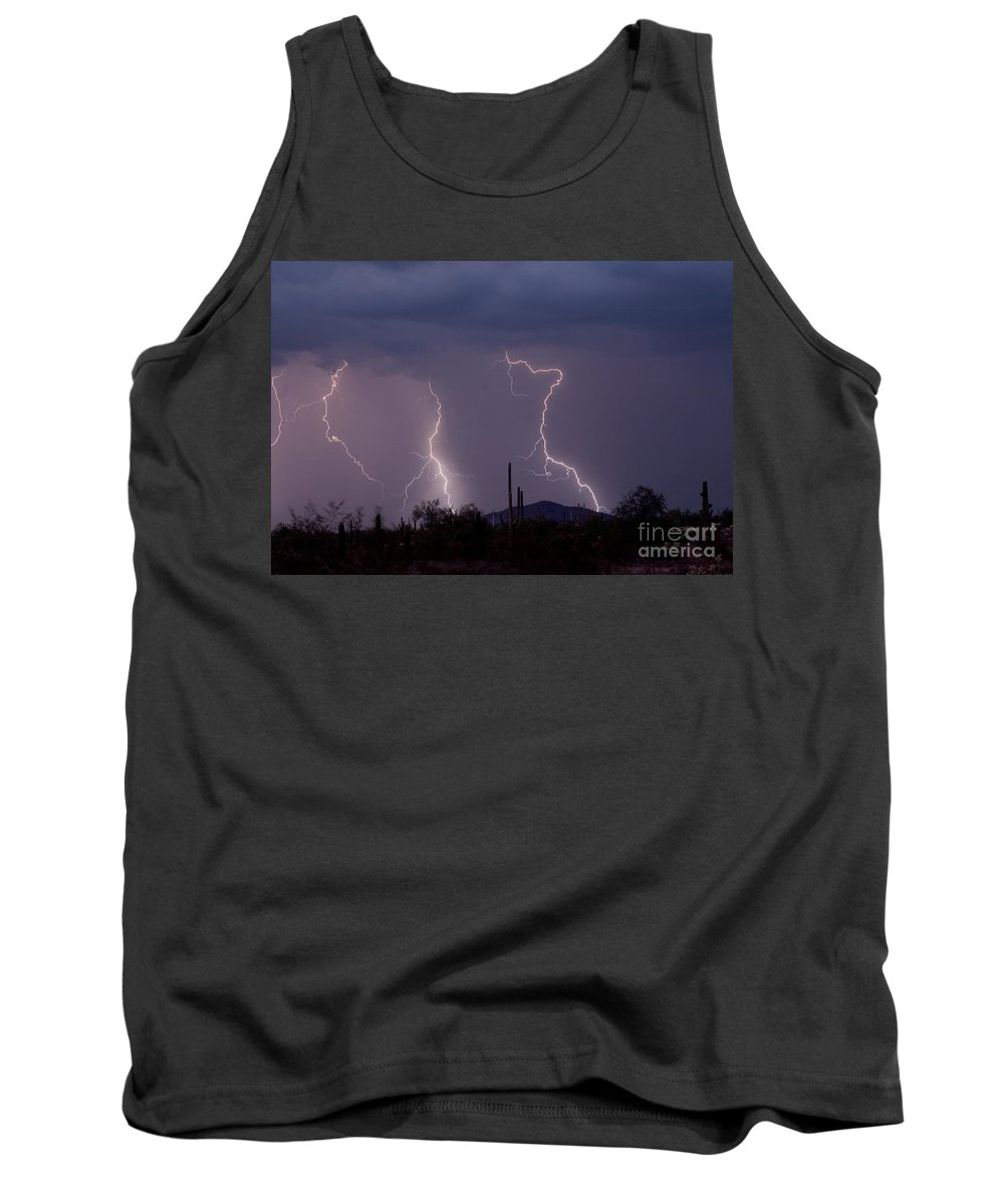 Lightning Tank Top featuring the photograph Sonoran Storm by James BO Insogna