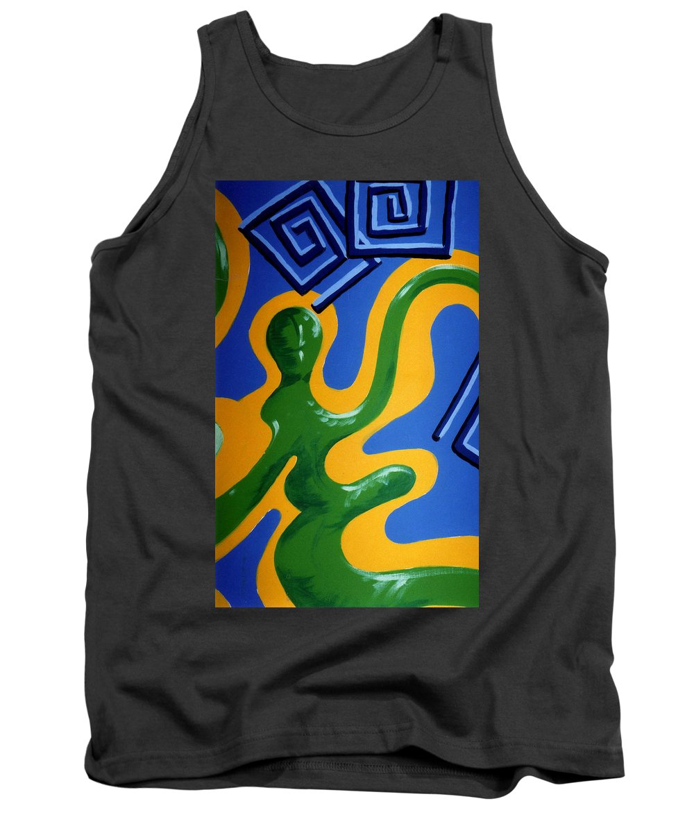Abstract Tank Top featuring the painting Soul Figures 1 by Catt Kyriacou