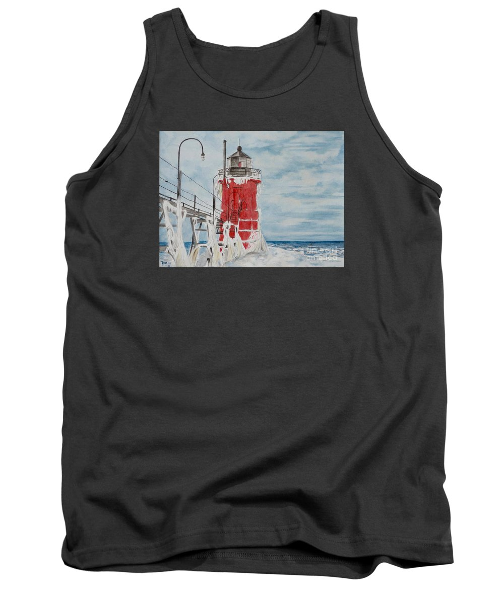 Lighthouse Tank Top featuring the painting South Haven Lighthouse, South Have, Michigan by Regan J Smith