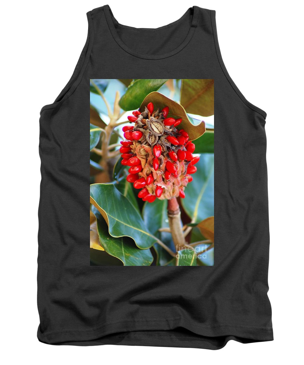 Magnolia Tank Top featuring the photograph Southern Magnolia Seedpods by Donna Bentley