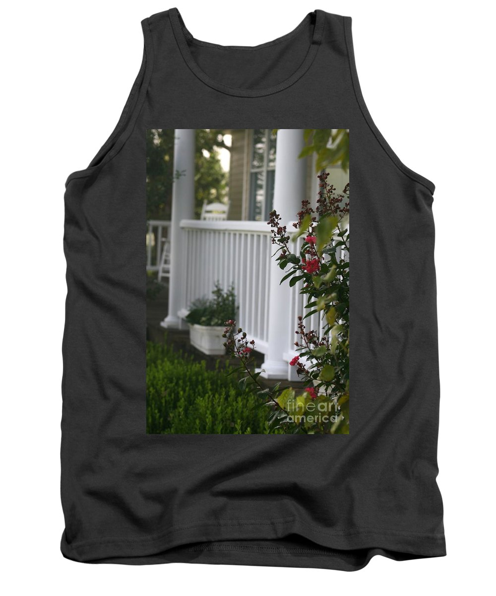 Summer Tank Top featuring the photograph Southern Summer Flowers And Porch by Nadine Rippelmeyer
