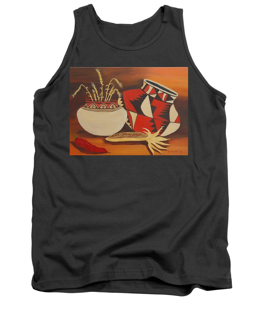 Still Life Tank Top featuring the painting Southwest Pottery by Ruth Housley
