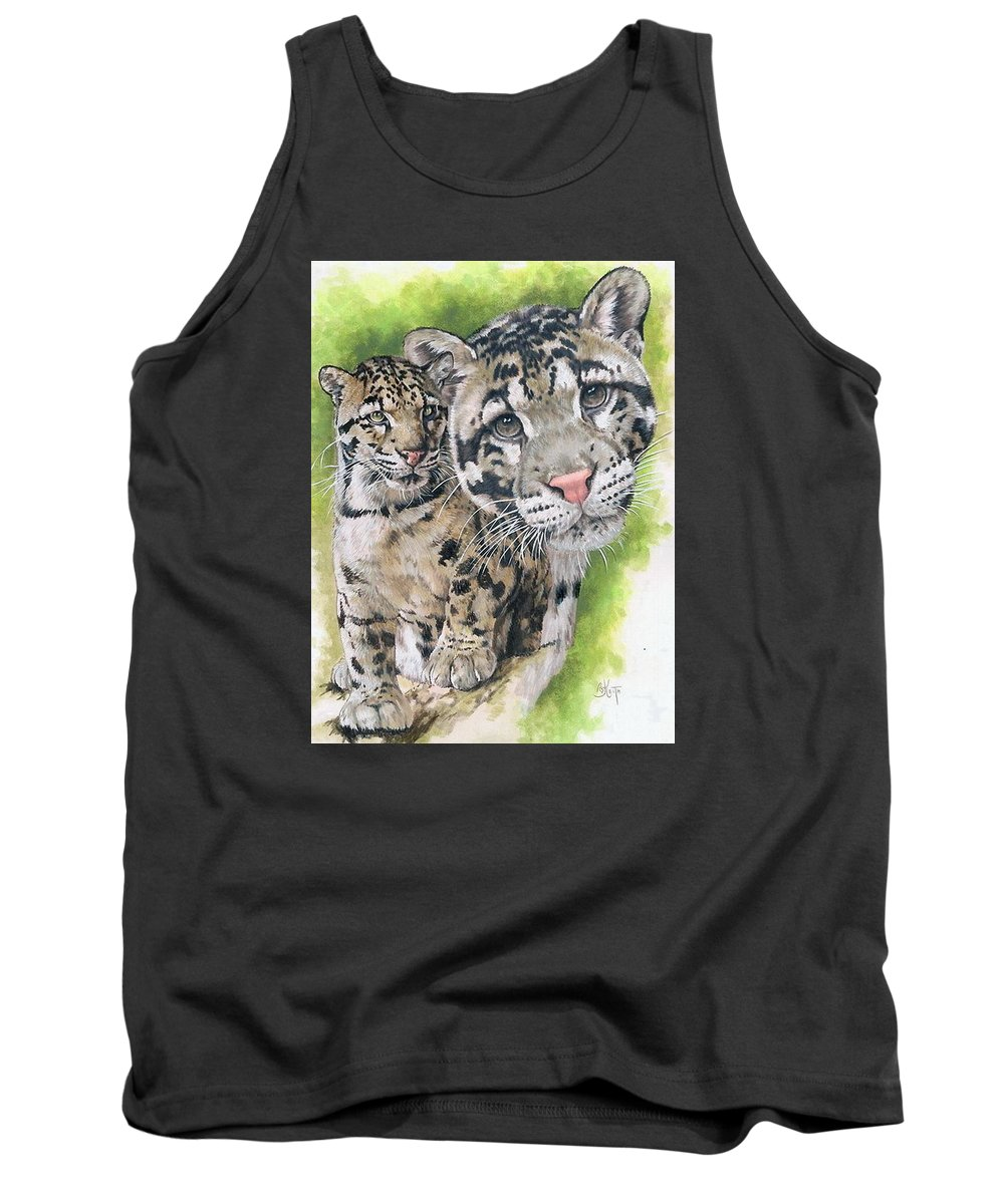 Clouded Leopard Tank Top featuring the mixed media Sovereignty by Barbara Keith