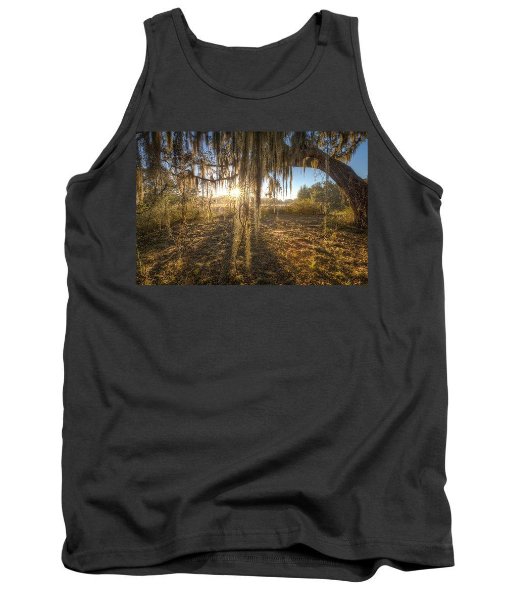 Oaks Tank Top featuring the photograph Spanish Moss Curtain Sunrise by Ronald Kotinsky