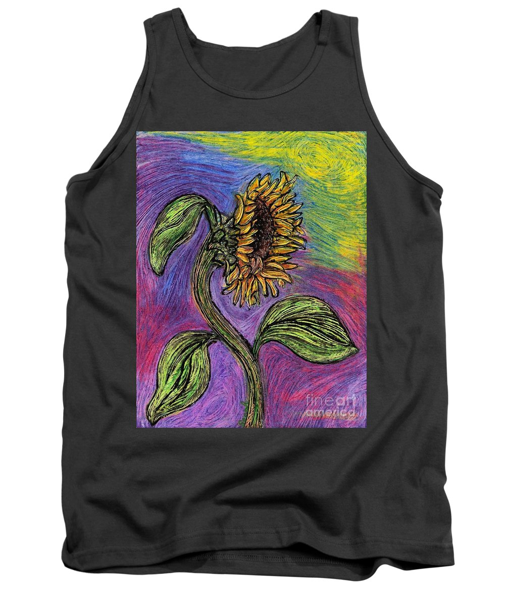 Sunflower Tank Top featuring the pastel Spanish Sunflower by Sarah Loft