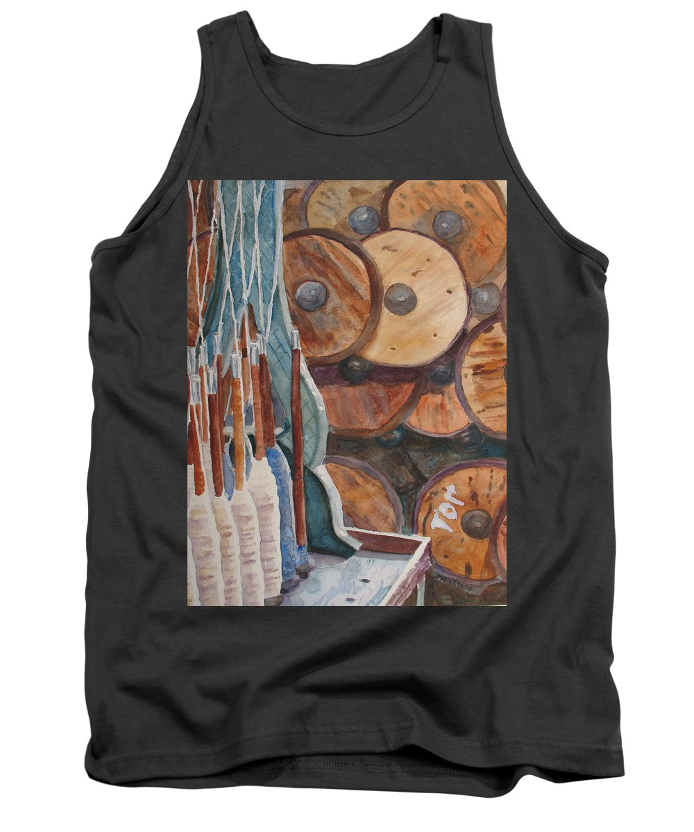 Factory Tank Top featuring the painting Spindles And Spools by Jenny Armitage