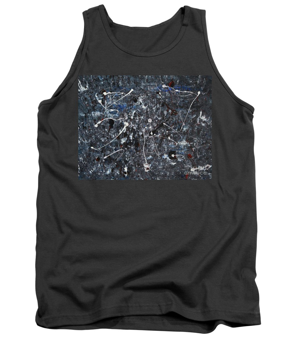 Splatter Tank Top featuring the painting Splattered - Grey by Jacqueline Athmann