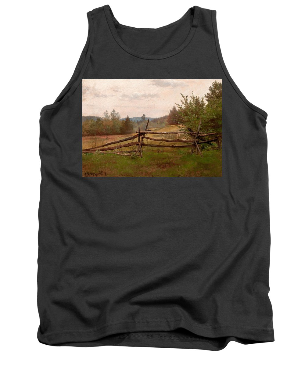 American Artist Tank Top featuring the painting Split Rail Fence by Alexander Helwig Wyant