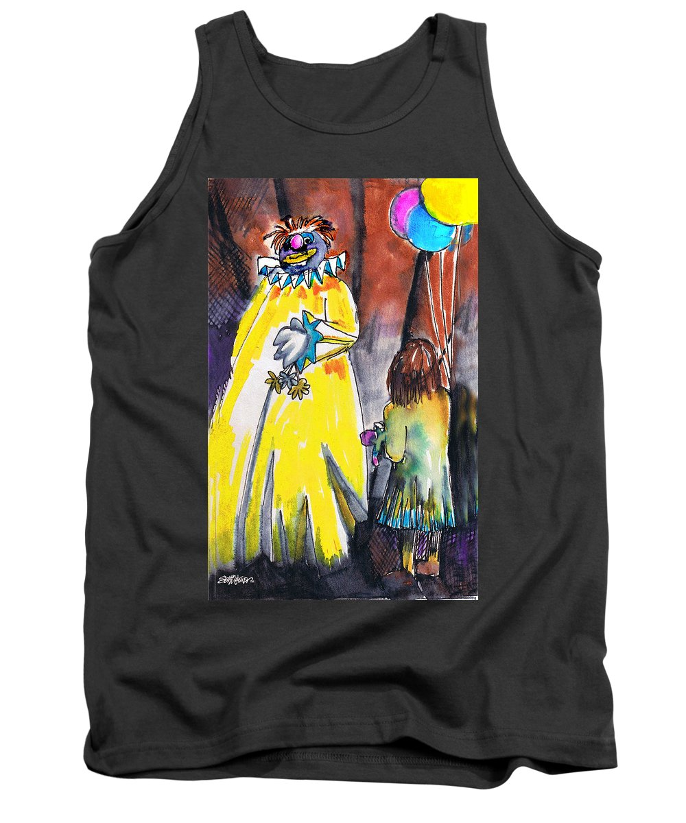 Watercolor Tank Top featuring the painting Spooky Old Clown by Seth Weaver