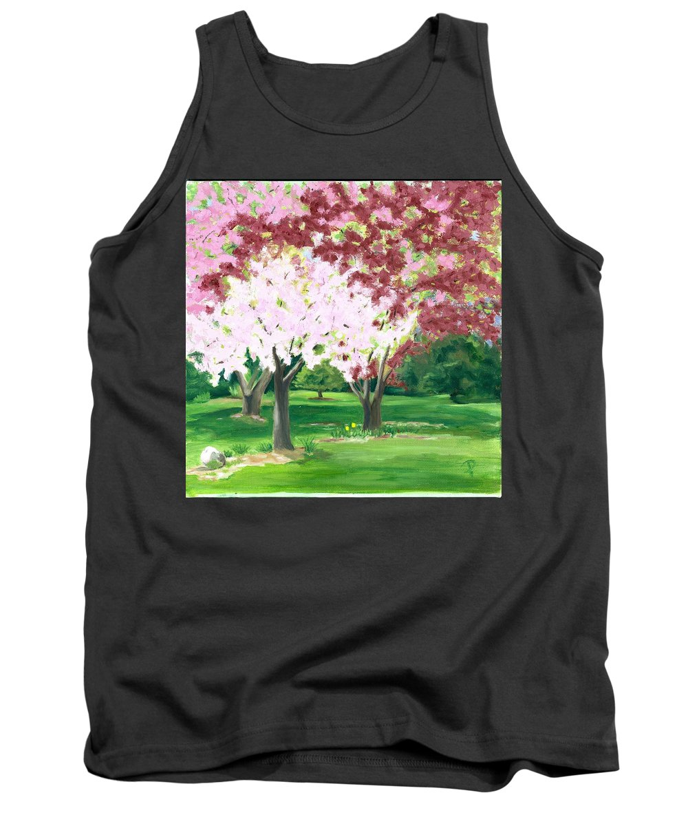 Spring Tank Top featuring the painting Spring At Osage Land Trust by Paula Emery