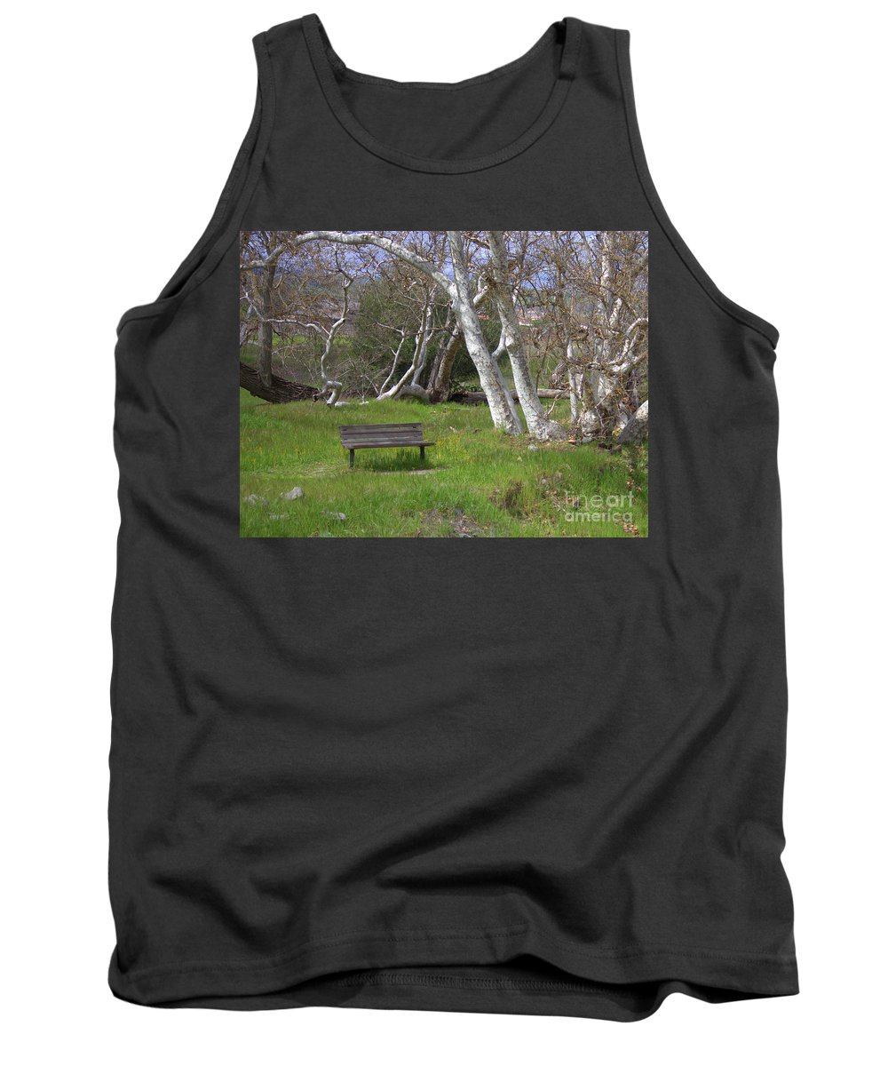 Bench Tank Top featuring the photograph Spring Bench In Sycamore Grove Park by Carol Groenen