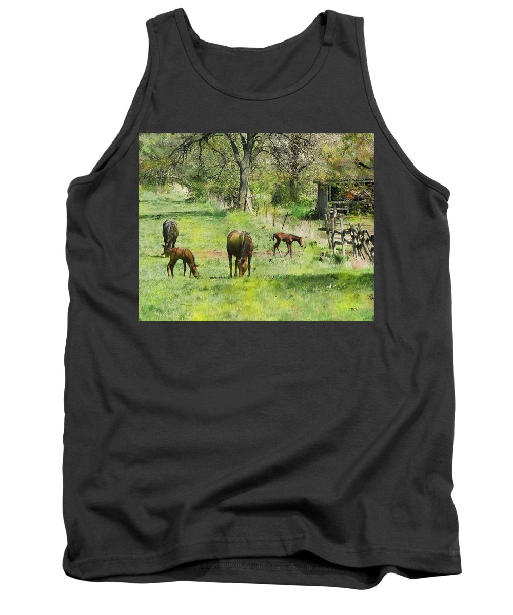 Spring Colts Tank Top featuring the digital art Spring Colts by John Beck