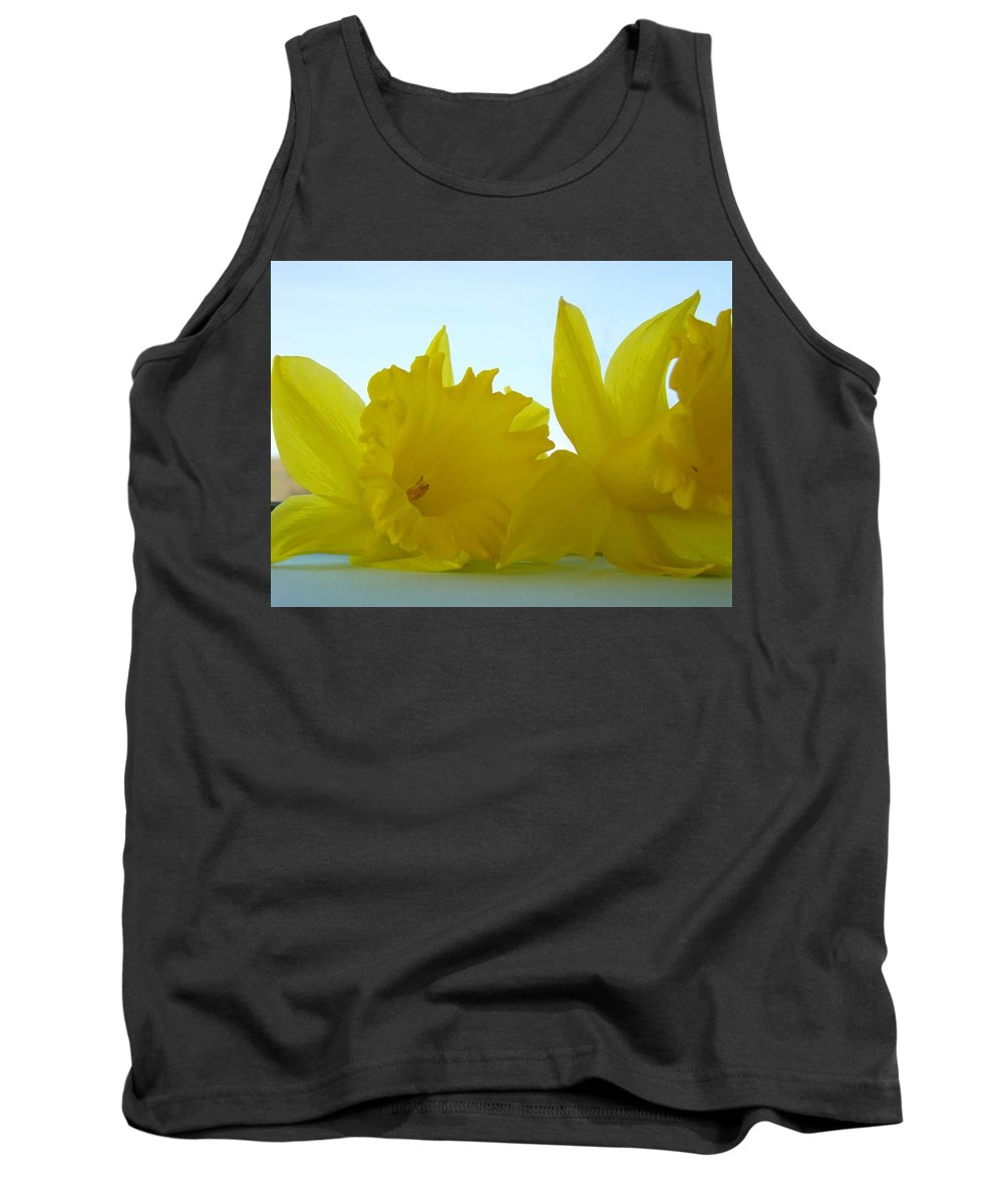 �daffodils Artwork� Tank Top featuring the photograph Spring Daffodils Flowers Art Prints Blue Skies by Baslee Troutman