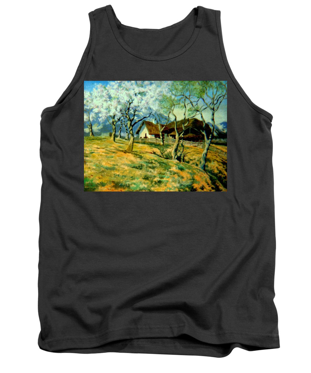 Oil Tank Top featuring the painting Spring In Poland by Henryk Gorecki