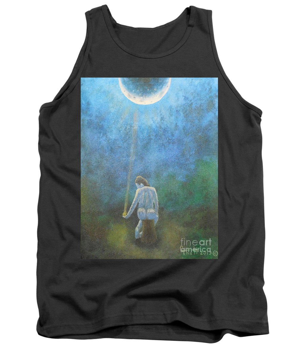 Moon Tank Top featuring the painting Spring Moonbeam by Gene Huebner