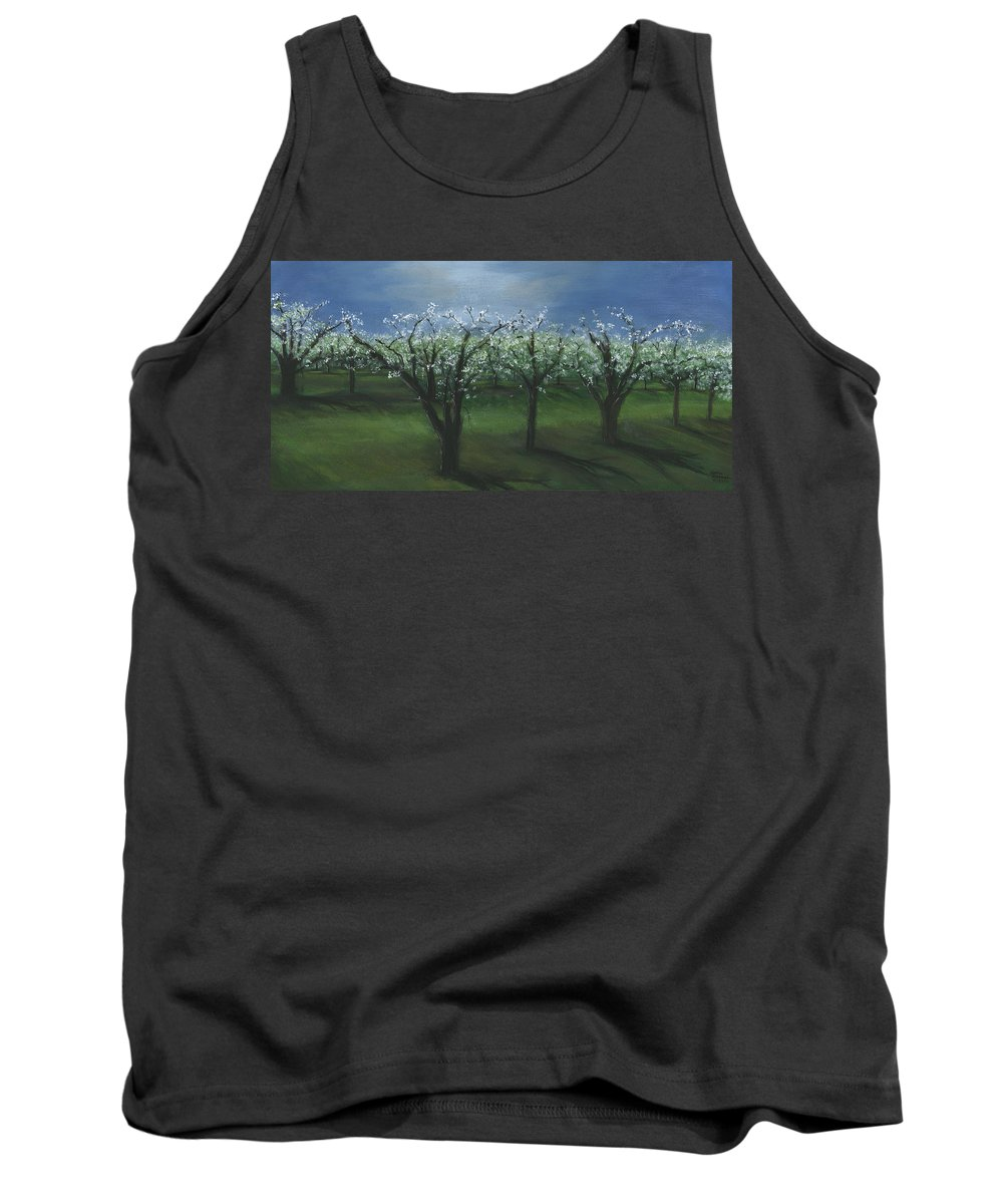 Spring Orchard Tank Top featuring the painting Spring Orchard by Sara Stevenson