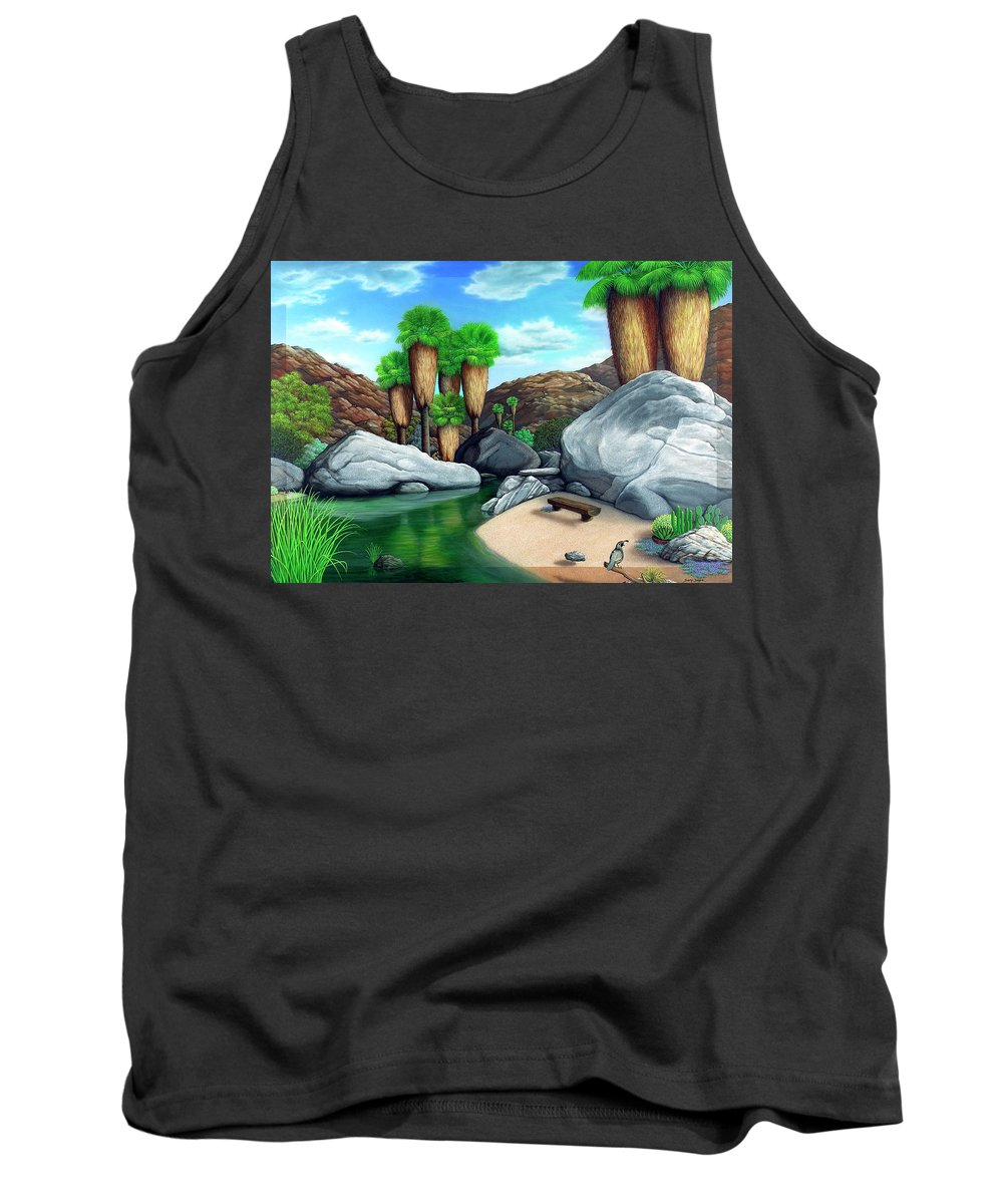 Landscape Tank Top featuring the painting Springtime In The Canyons by Snake Jagger