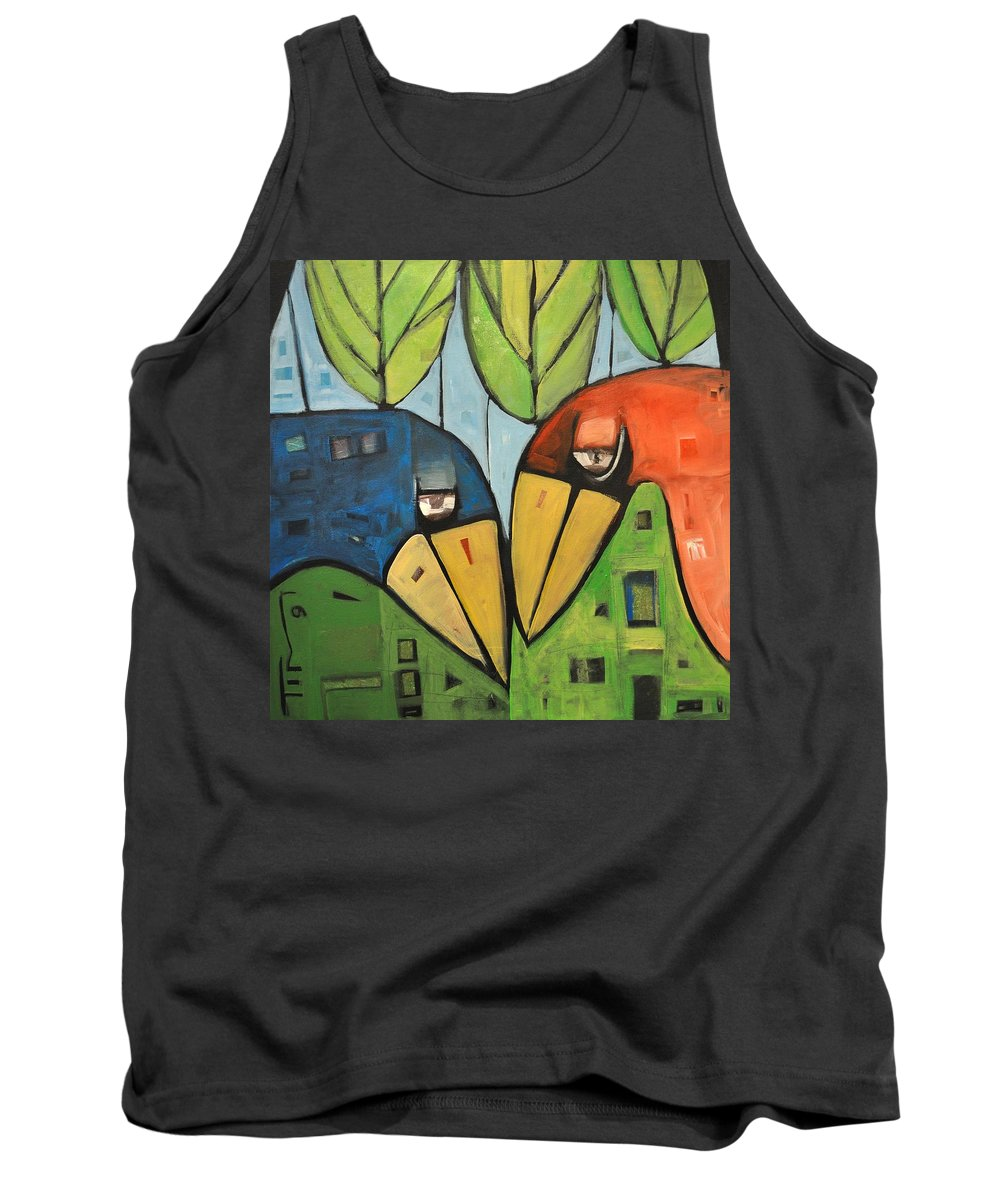 Birds Tank Top featuring the painting Springtime Lovebirds by Tim Nyberg
