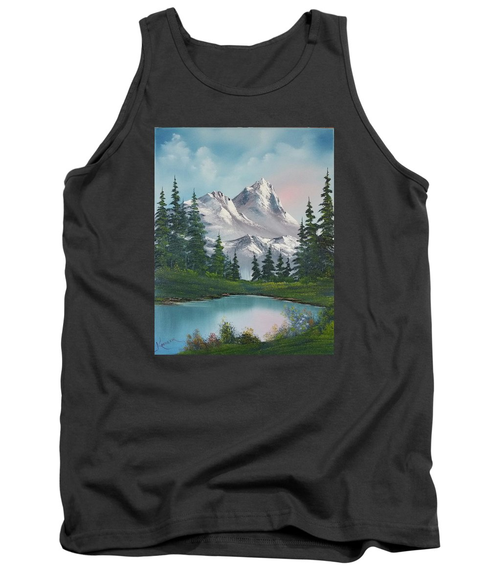Mountain Tank Top featuring the painting Springtime Mountain by John Koehler