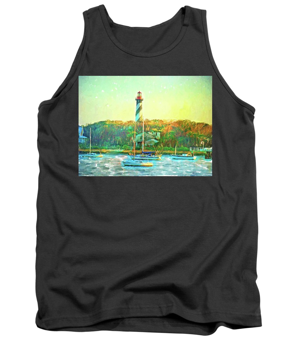 Alicegipsonphotographs Tank Top featuring the photograph St Augustine Lighthouse Waterscaped by Alice Gipson