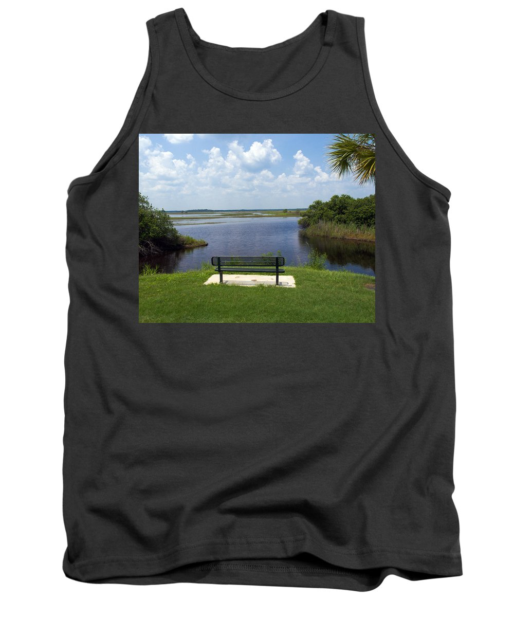St; Saint; John; Johns; River; Creek; Stream; Water; Waterway; Clouds; Reflections; Look; Over; Over Tank Top featuring the photograph St Johns River In Florida by Allan Hughes