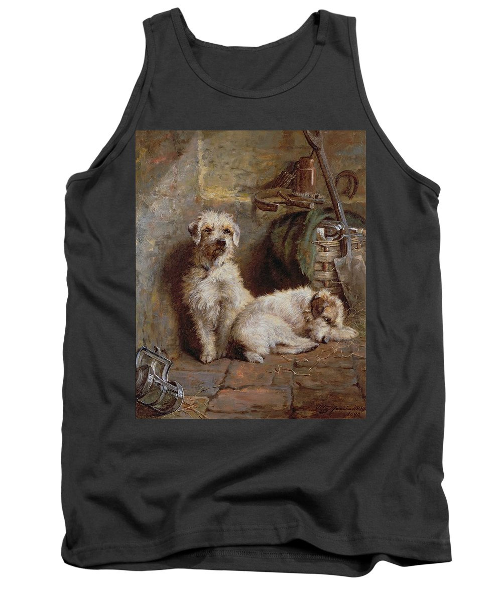 Dogs; Terriers; Tools; Stable; Basket; Spade; Lantern; Bottle; Horseshoe Tank Top featuring the painting Stablemates by John Fitz Marshall