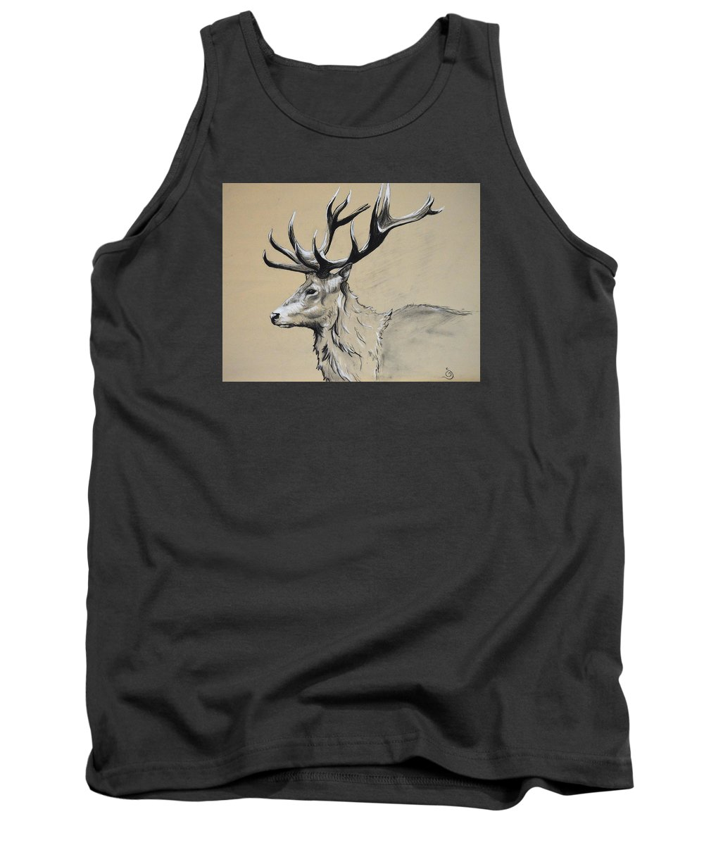 Stag Tank Top featuring the drawing Stag by GD Swenson