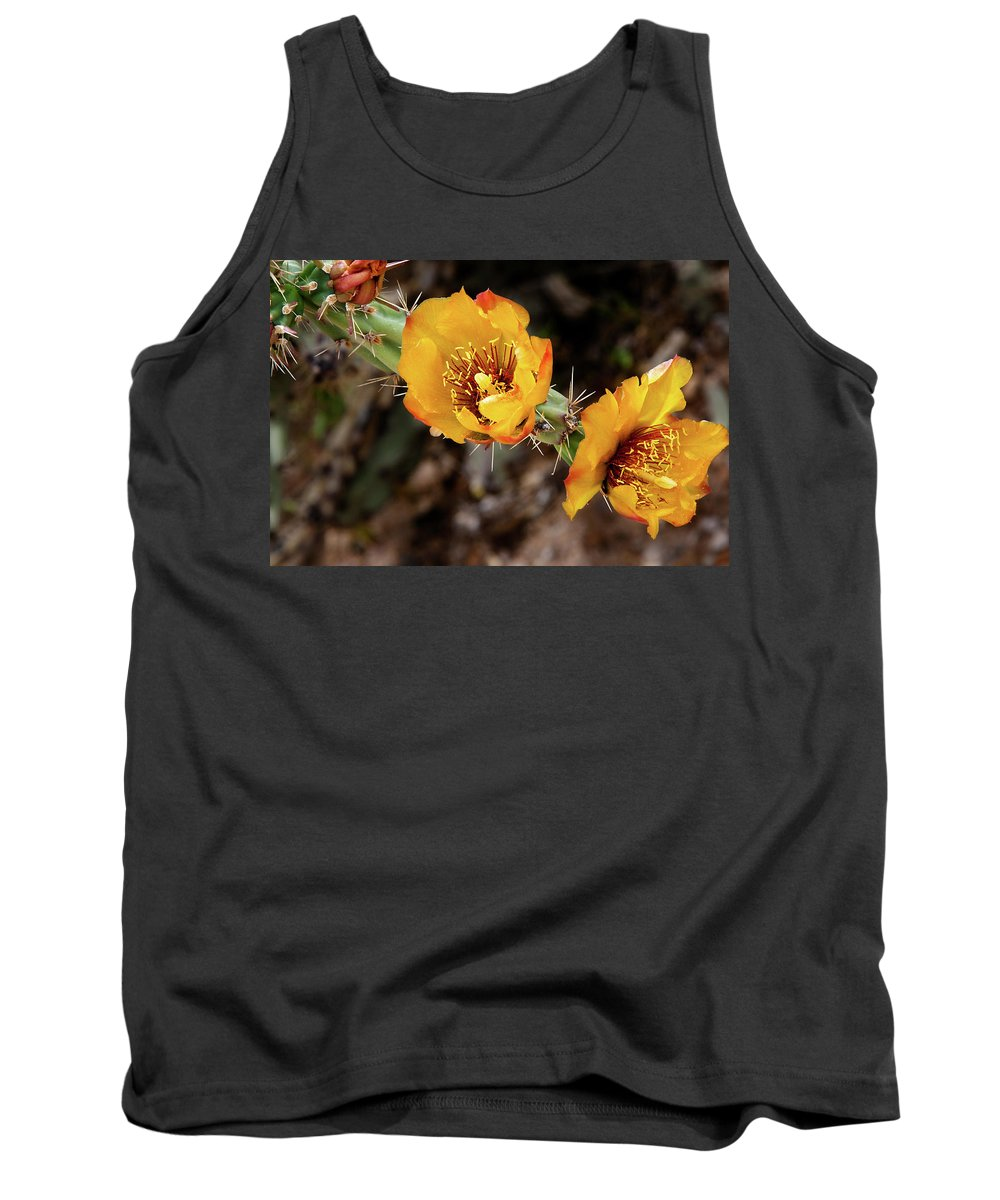 Flower Tank Top featuring the photograph Staghorn Cactus Blossons by Phyllis Denton