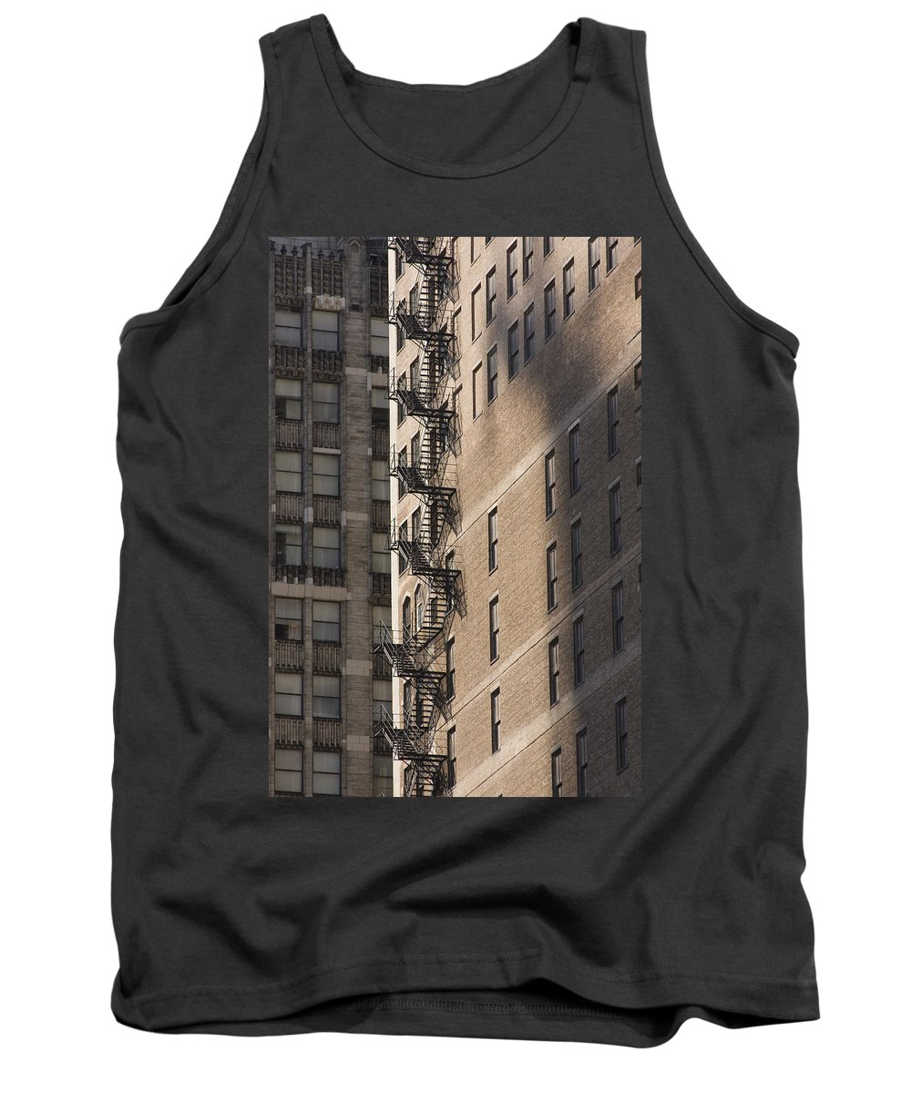 Chicago Windy City Metro Urban Building Stairs Windows Light Shaddow Tank Top featuring the photograph Stairs by Andrei Shliakhau