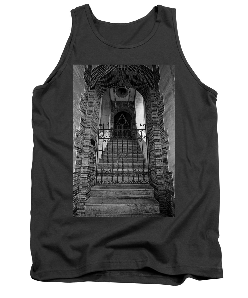 Stairs Tank Top featuring the photograph Stairs Beyond B-w by Christopher Holmes