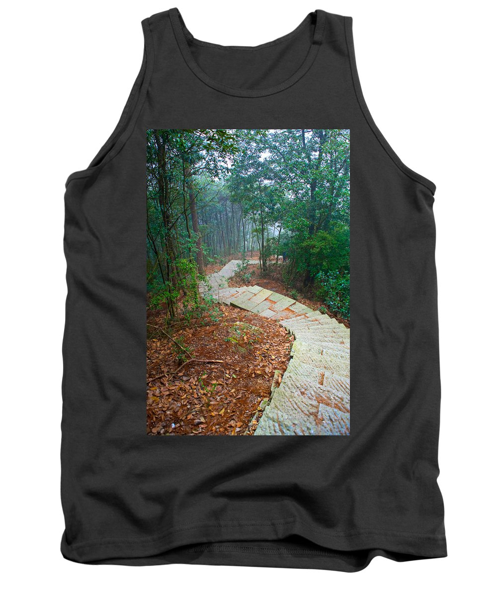 Trees Tank Top featuring the photograph Stairs Down Mountain by James O Thompson