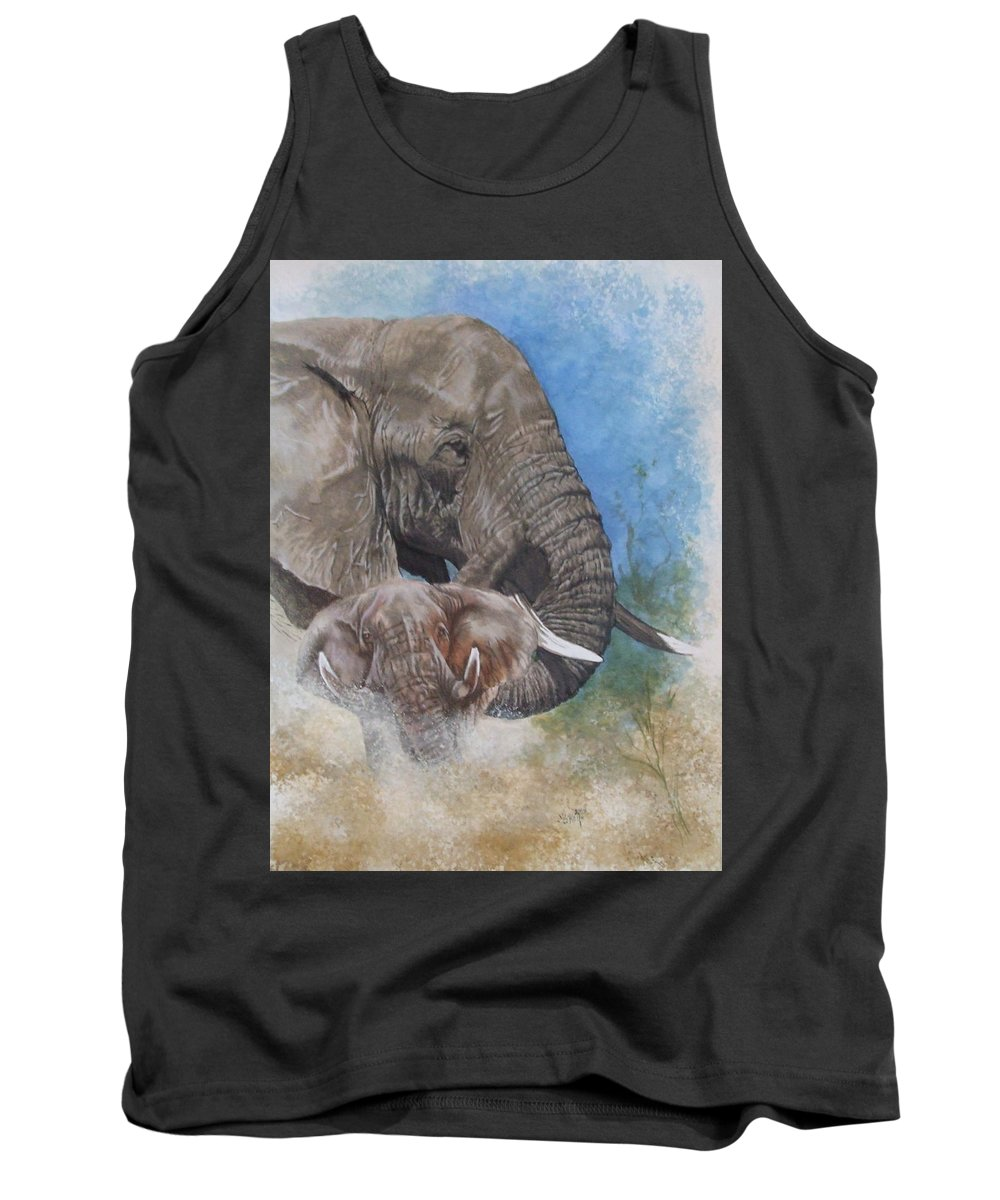 Elephant Tank Top featuring the mixed media Stalwart by Barbara Keith