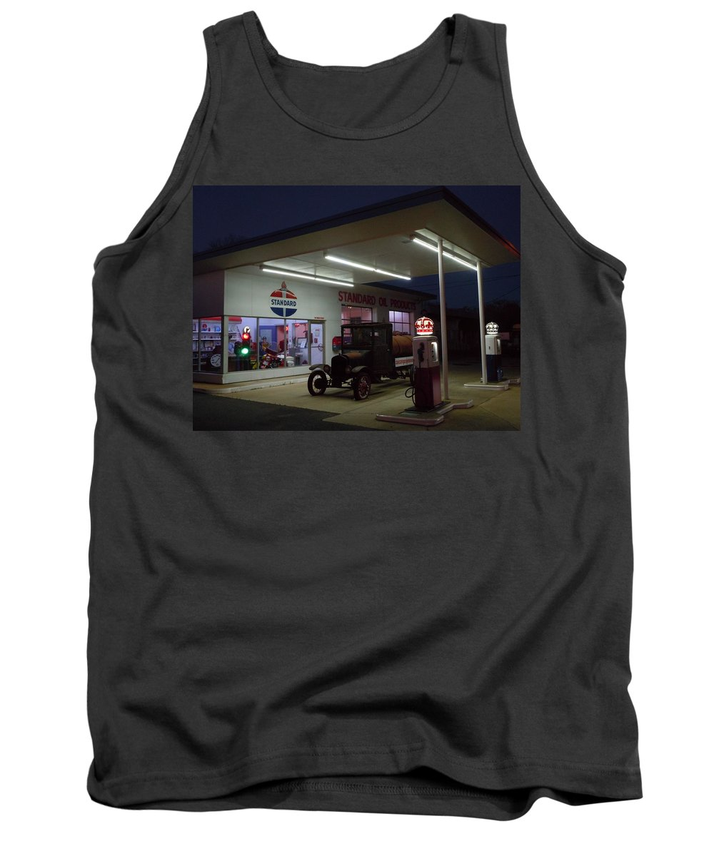 Standard Oil Museum Tank Top featuring the photograph Standard Oil Museum After Dark 20 by Timothy Smith