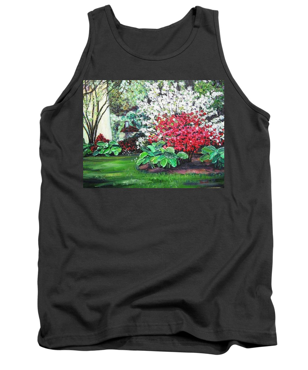 Blossoms Tank Top featuring the painting Stanely Park Blossoms by Richard Nowak