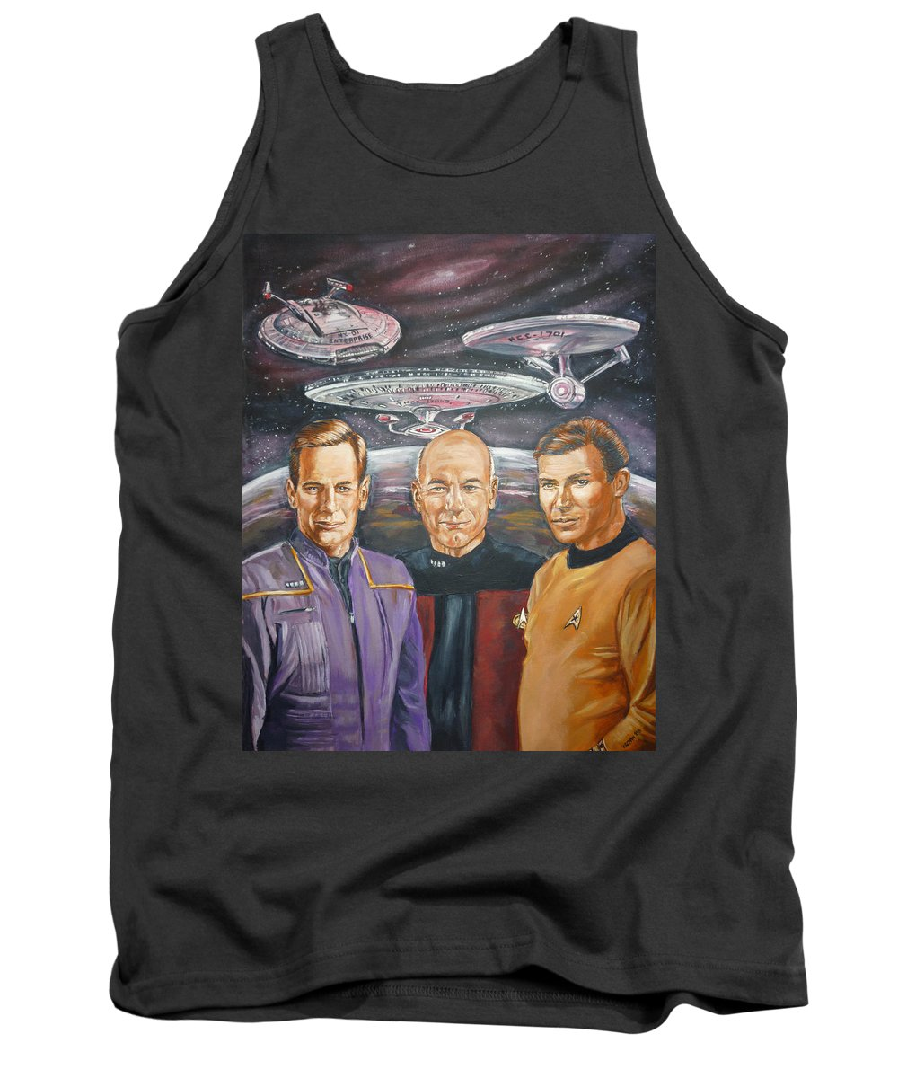 Star Trek Tank Top featuring the painting Star Trek Tribute Enterprise Captains by Bryan Bustard