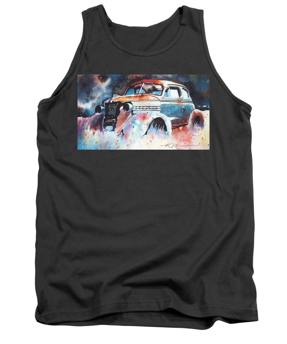 Chev Tank Top featuring the painting StarlightChevy by Ron Morrison