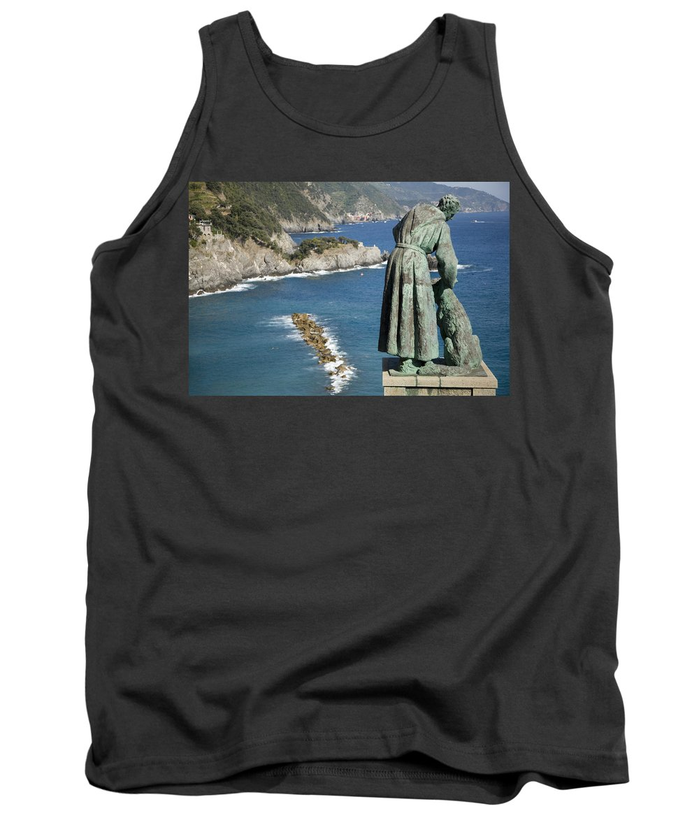 Travel Tank Top featuring the photograph Statue Of Saint Francis Of Assisi Petting A Dog by Ian Middleton