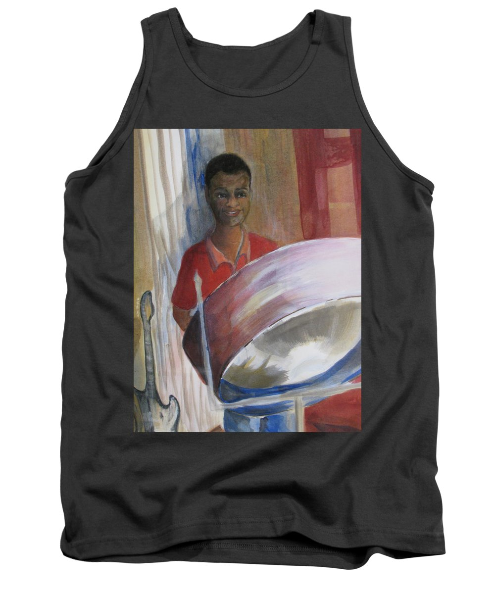 Bahamas Tank Top featuring the painting Steel Drums by Donna Steward